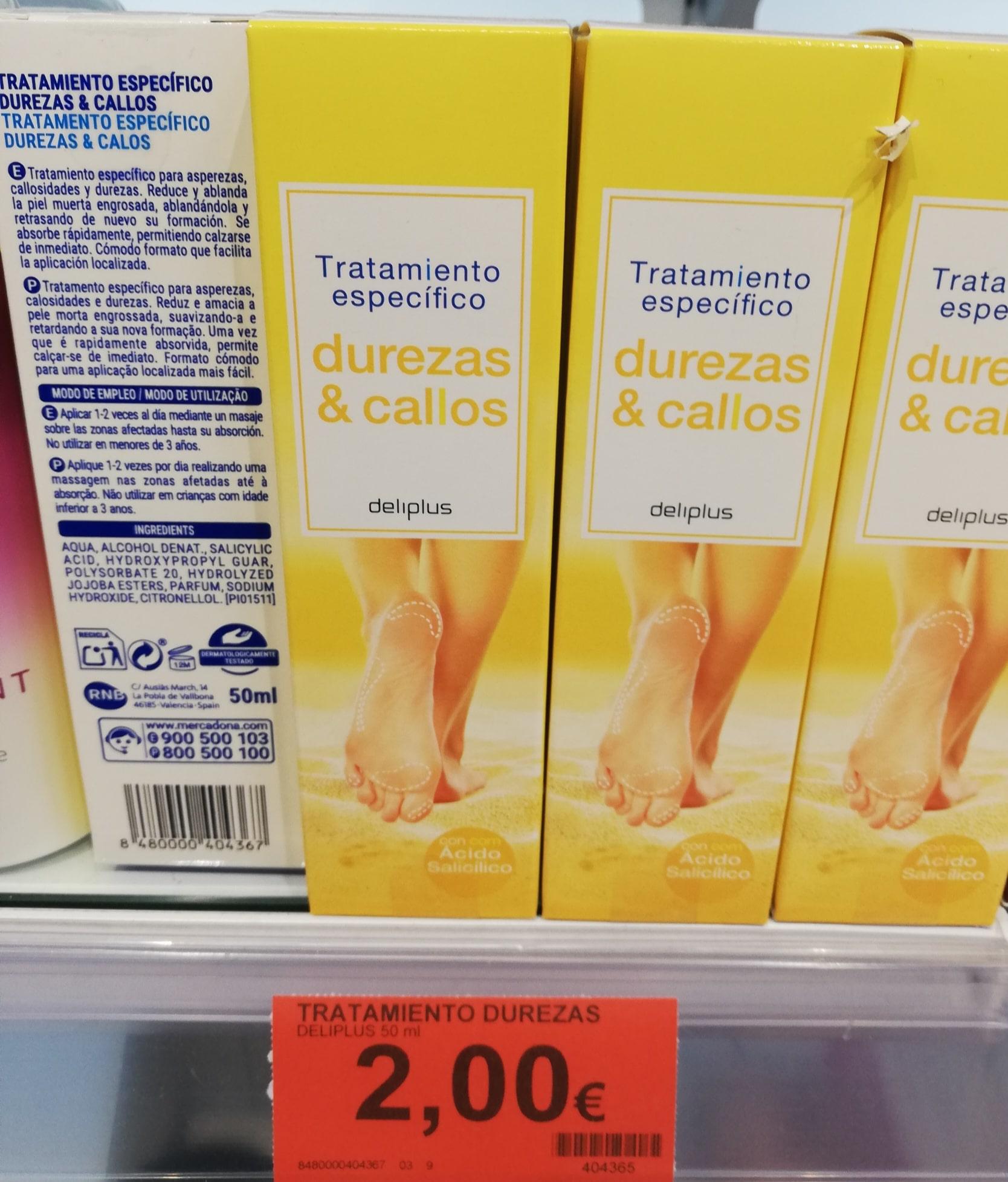 EL Tratamiento para durezas callos y asperezas o talones agrietados de Mercadona deliplus tienen un precio de 2 euros.